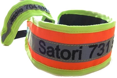 Bracco Reflective Collar Band with rubber- pink, different sizes.