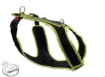 BRACCO postroj pro psa ACTIVE , černá/žlutá- různé velikosti.