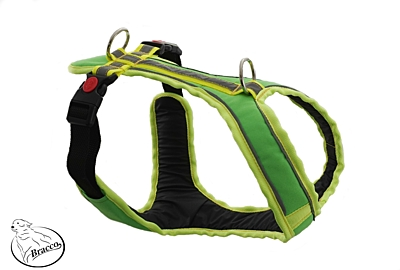 BRACCO dog harness ACTIVE, neon green - various sizes.
