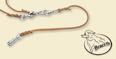 Bracco leather dog leash 6.0mm, part to dog with clamping carbine 80 cm, various collors